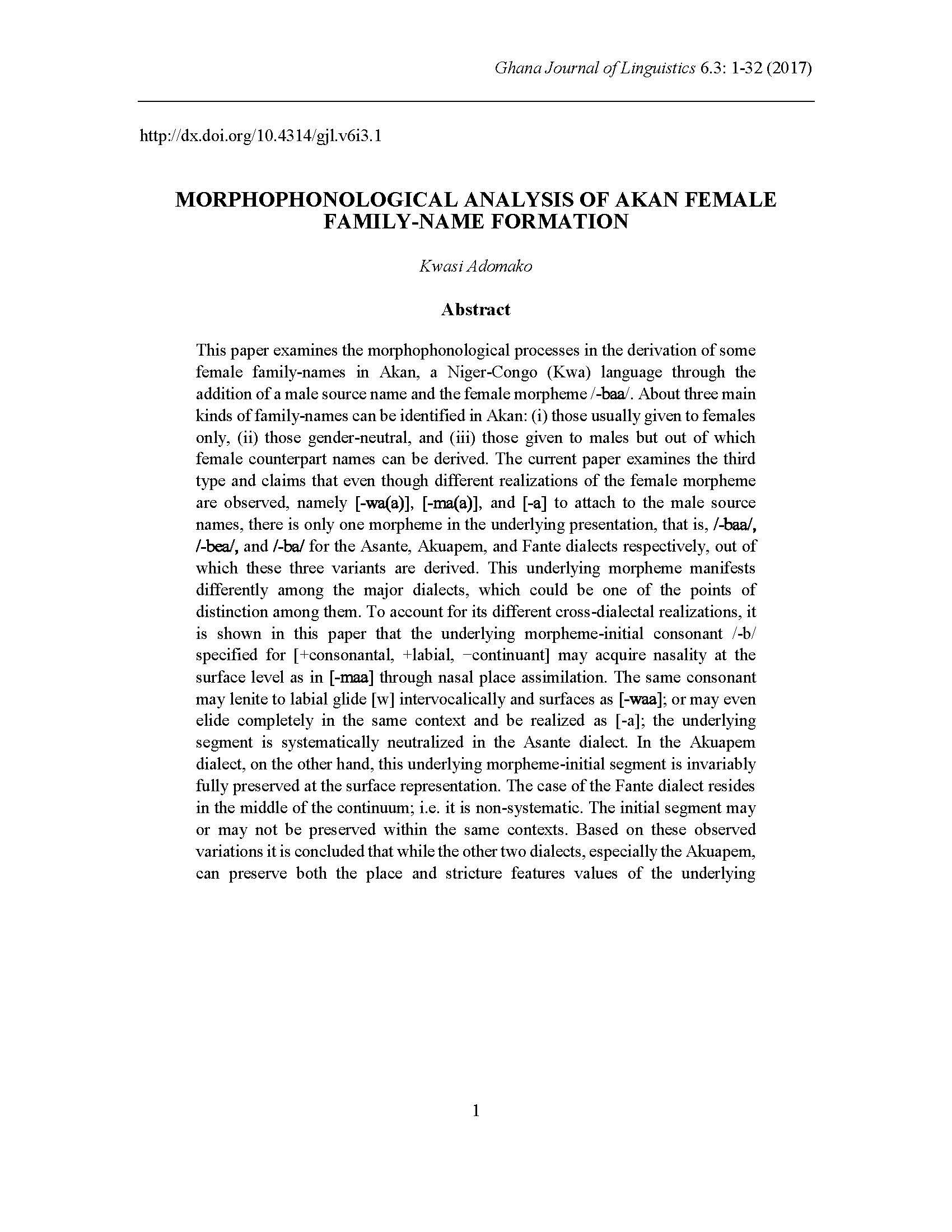 Kwasi Adomako - MORPHOPHONOLOGICAL ANALYSIS OF AKAN FEMALE FAMILY-NAME FORMATION