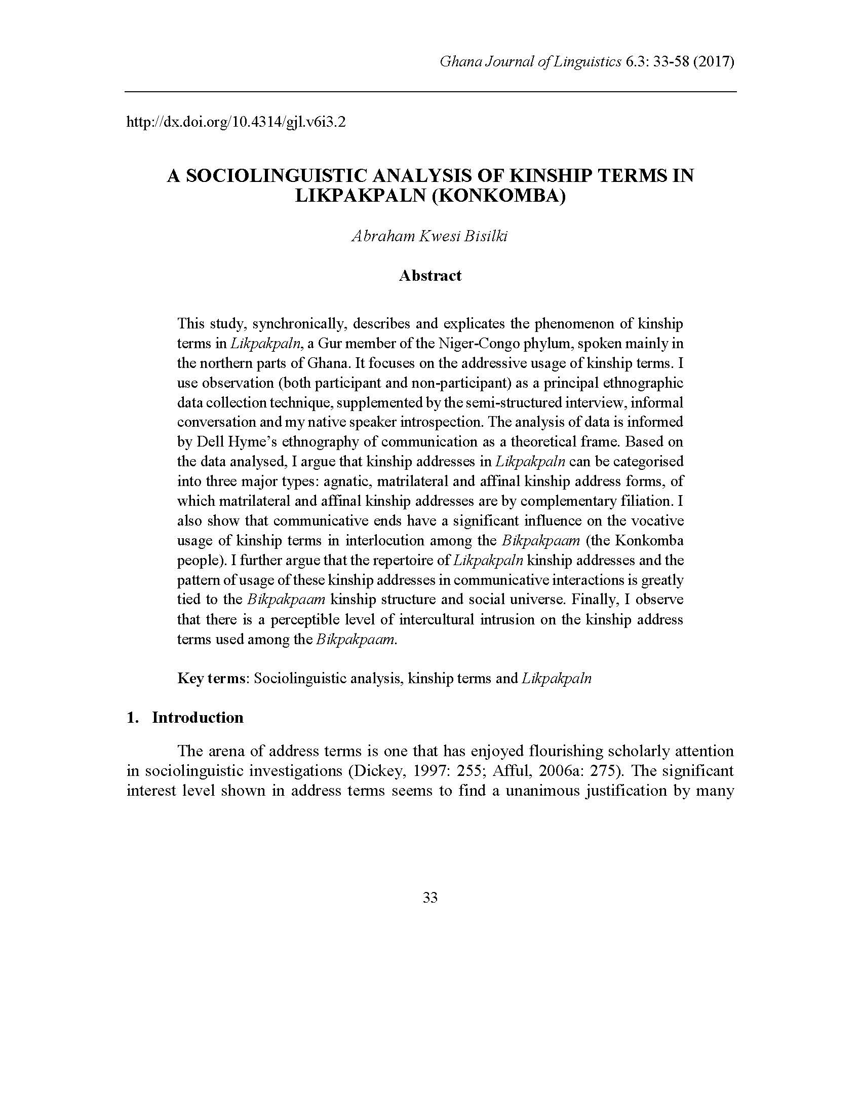 Bisilki: A Sociolinguistic Analysis of Kinship Terms in Likpakpaln (Konkomba)