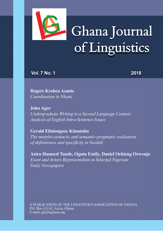 Vol. 7 No. 1 (2018): Ghana Journal of Linguistics 7.1 (2018)